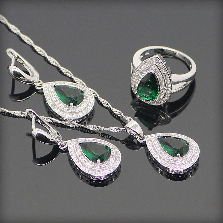 Green Created Emerald White Topaz 925 Sterling Silver Jewelry Sets For Women Sliver Pendant/Necklace/Earrings/Rings Free Box