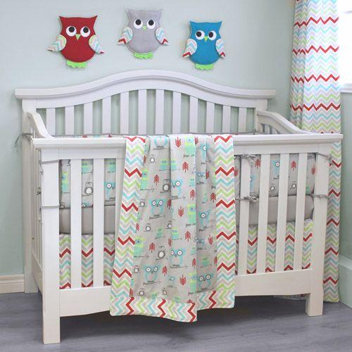 Hooty Bright 4 Pc Crib Bedding Baby Boy Owl Crib Bedding