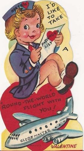 Vintage valentine, aviation, flight attendant
