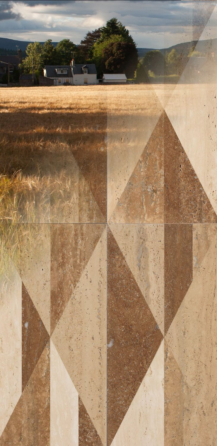 "The earthy tones of a country landscape blend with each other, designing bucolic emotions that here speak through #marble, too. Our ""tangram country"" texture from the ""Opus"" collection"