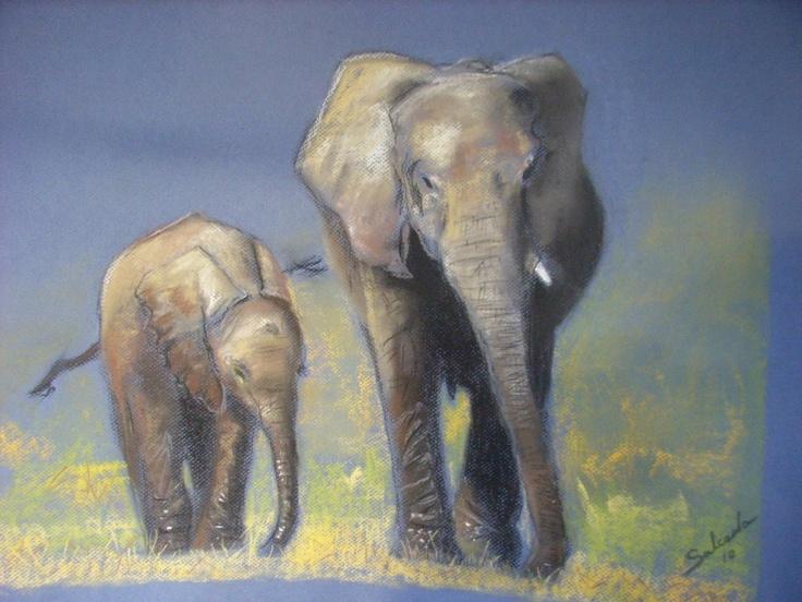 Elefantes a pastel