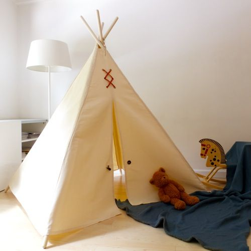 Kids teepee play tent in the large Made in the USA with natural canvas and accented with horn and suede trims. & 18 best Kids Teepee Play Tent images on Pinterest | Teepee play ...