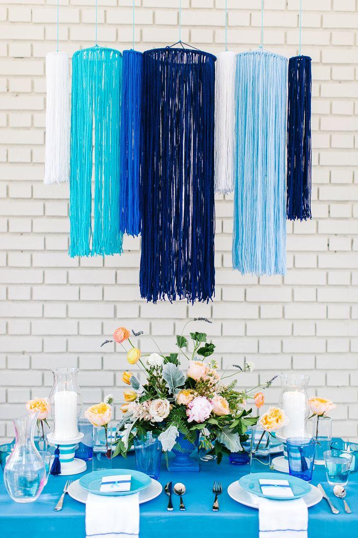 DIY Blue Yarn Chandelier
