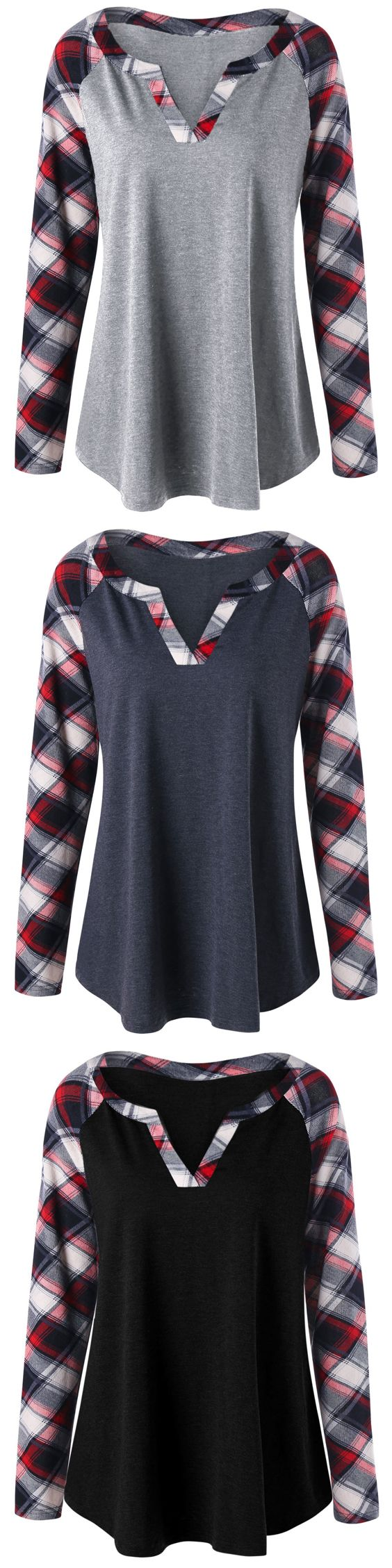Plus Size Plaid Raglan Sleeve Top
