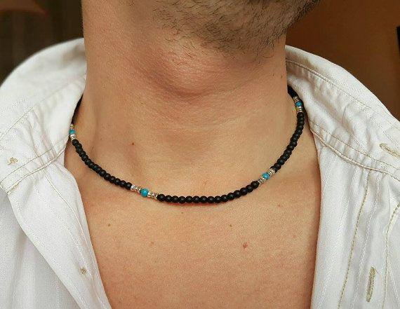 MENS BEADED NECKLACE Matt Onyx-Turquoise Necklace Necklace for Men Mens Jewelry Gemstone Necklace Matt Onyx Necklace 4mm Bead Necklace