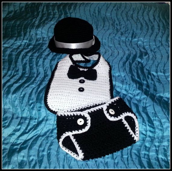 Crochet baby boy first tuxedo photo prop set  by fridaysfactory