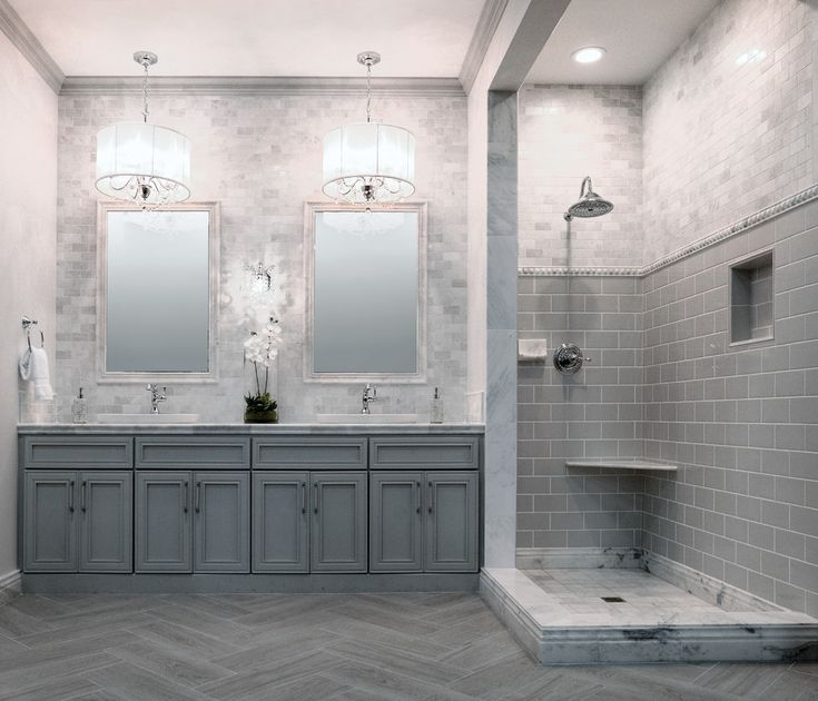 Make Photo Gallery Luxury Bathroom Design Ideas Displaying Elegant Chandelier And Cream Rectangular Bathroom Mat Plus Elegant Bathroom Vanity Cabinets Under Oval Framed Wall