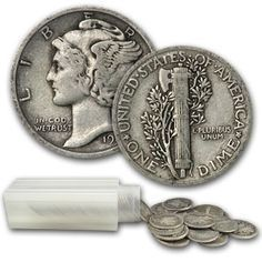 Mercury Dimes 90% Silver 50 Coin Roll Face Value Avg. Circ. [50-MD-1916-1945]: Aydin Coins & Jewelry, Buy Gold Coins, Silver Coins, Silver Bar, Gold Bullion, Silver Bullion - Aydincoins.com