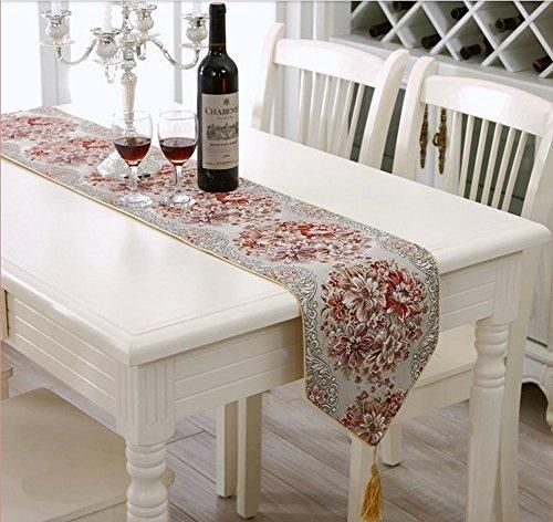 """Milesky Classic European Style Embroidery Dining Table Runners Tassel Sequined Lace (Red 11x98"""")"""