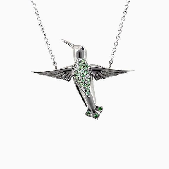 Hummingbird Necklace with Green Diamonds in White Gold