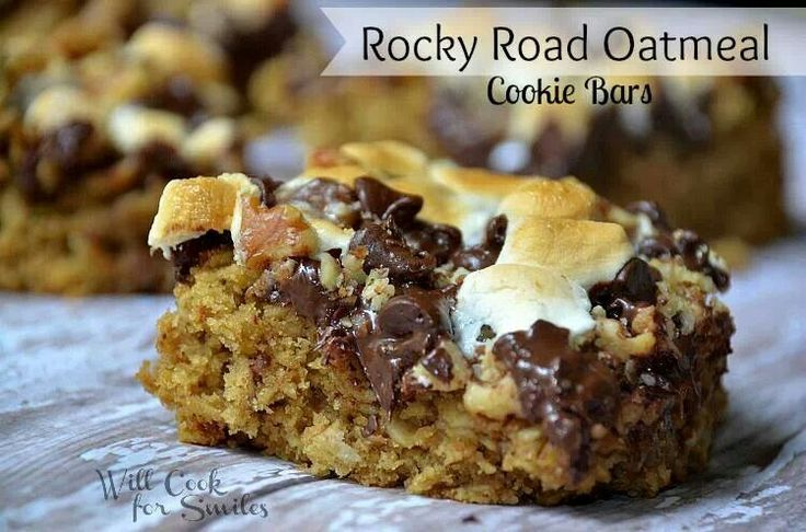 Rocky road oatmeal bars