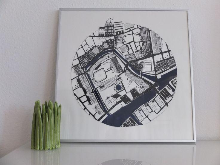 Original drawing of Strøget area in Copenhagen.