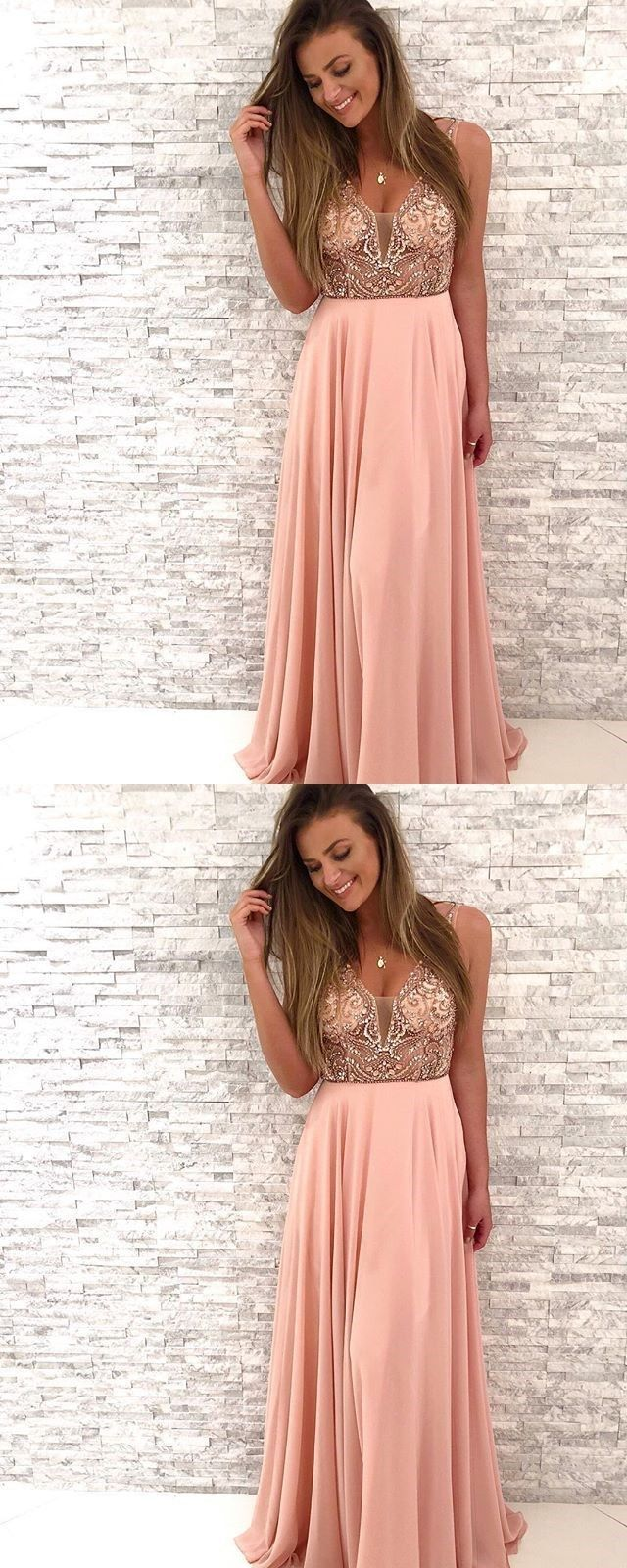 Gorgeous beaded pink chiffon long prom dressvneck a line party