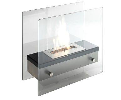 Напольный камин на биоэтаноле - металл - прозрачный, 47х19х40 см