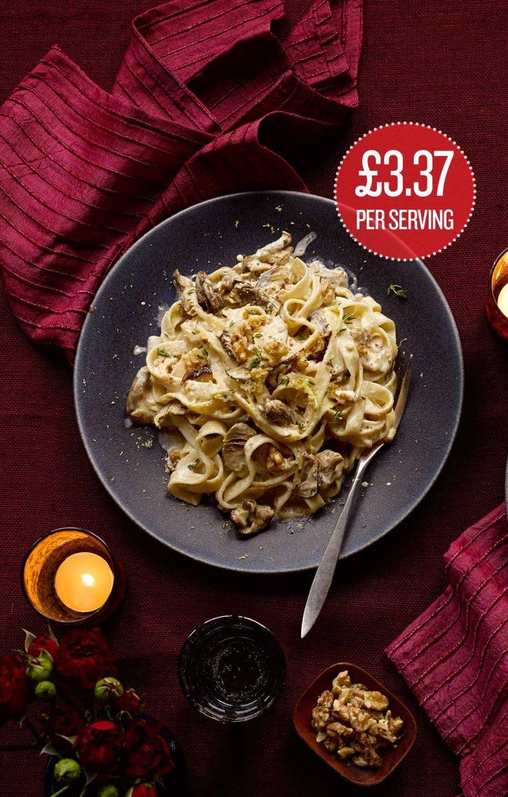 Creamy wild mushroom and walnut pasta