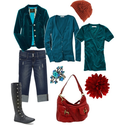 Teal and red.