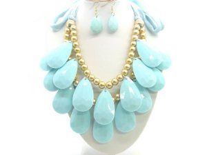 """Bubble BIB 2 Row Tear Drop Huge Chunky Necklace Set - TURUOISE COLOR eshop. $19.99. Blue color String. String Lenth : 23""""each for adjustable. Length : 9.5""""(bead to bead)"""