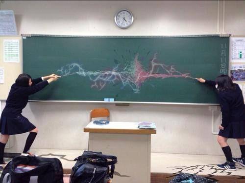 Harry Potter vs Voldemort reenacted by Japanese schoolgirls