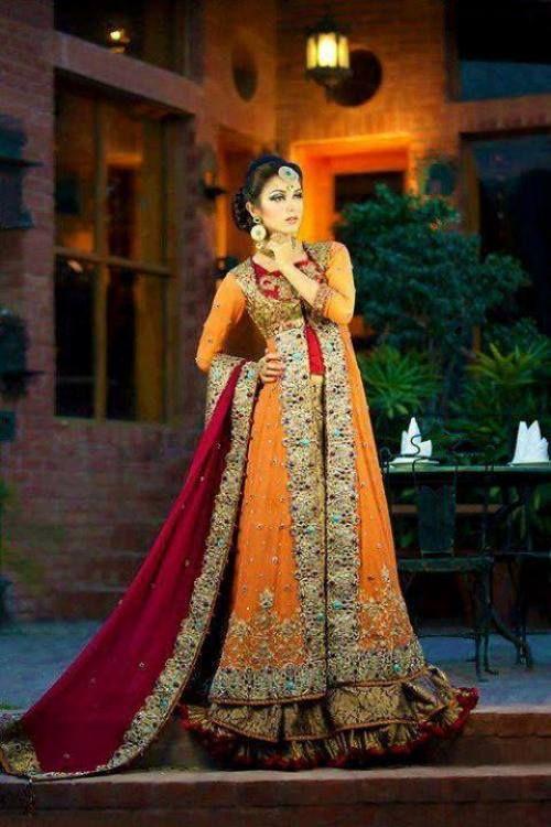 Beautiful Bridal Mehndi Dresses 2014