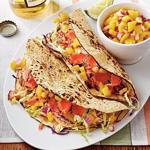 Sweet-and-Spicy Salmon Tacos - 20 Festive Mexican Recipes - Coastal Living