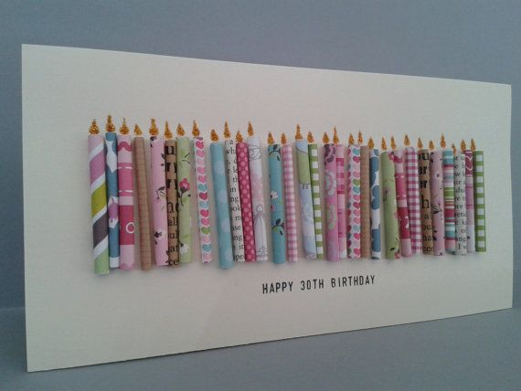 Happy 30th Birthday Candle Card with 30 paper candles, Female. on Etsy, $9.50
