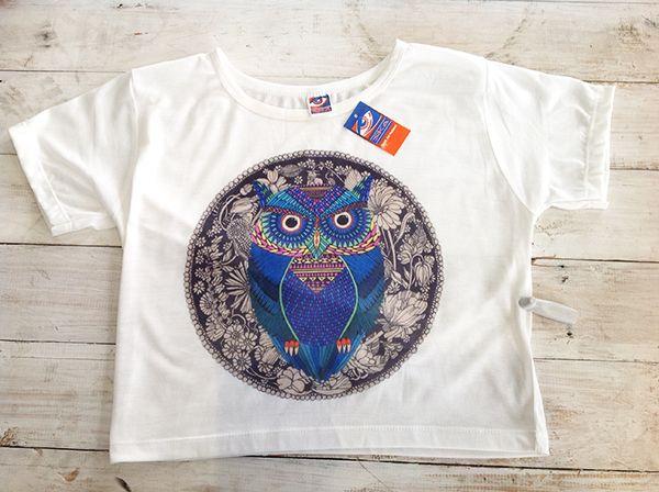Owl grey crop top, R170.