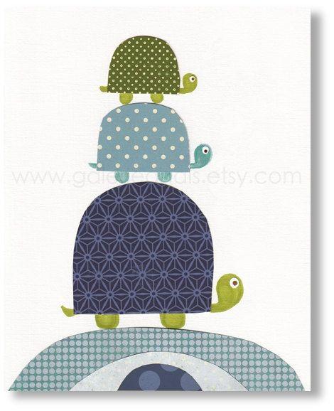 Nursery art prints, baby nursery decor, nursery wall art,Kids art, nursery turtle, kids room decor,  Going Places 8x10 print. $14.00, via Etsy.