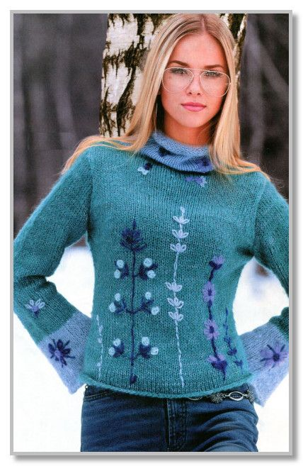 вязание спицами мохеровый пуловер с отделкой вышивкой размеры 46