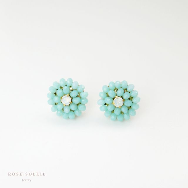 ✧ Glass Crystal Earrings ✧ Tropical Sky Collection - Rose Soleil Jewelry ローズソレイユジュエリー ✧ グラスクリスタルピアス ✧ トロピカルスカイコレクション