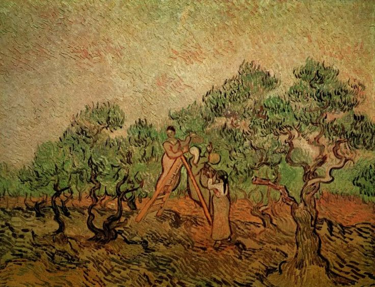 """Painted by Vincent van Gogh in 1889, during his self-imposed stay at the asylum in Saint-Remy. When allowed to venture beyond the walls of the asylum, he would often paint the trees of a nearby olive grove.  Use the code """"VP20"""" during checkout at www.vintprint.com for 20% off all orders!"""