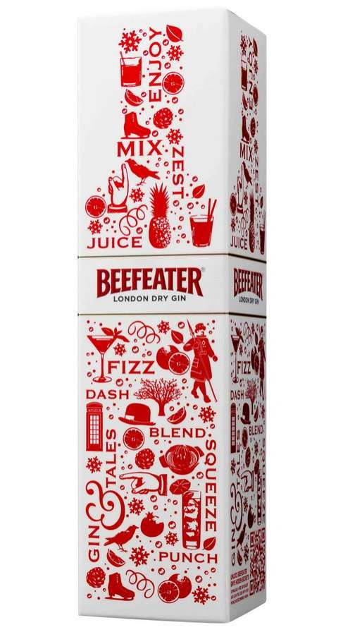 Beefeater London Dry Carton Gets Jolly with Red and White Colors #holiday #drinks trendhunter.com