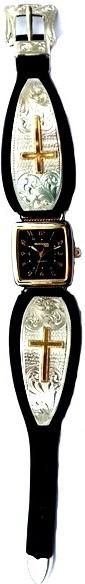 (MSWLBL700-700) Western Ladies' Black Leather Band Watch with Filagree Crosses