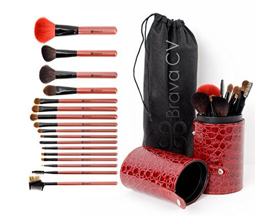 Premium 16pc Professional Makeup Brush Set with NaturalSynthetic Brushes Includes a Crocodile PU Storage Case Easily Create a Flawless Natural or Glamorous Look -- Details can be found by clicking on the image.