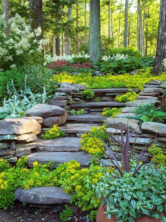 aproveitar a parede fazer tipo uma escada com aparência natural de pedras e plantinhas e florzinhas nos entremeios.. Mas o que colocar no final?