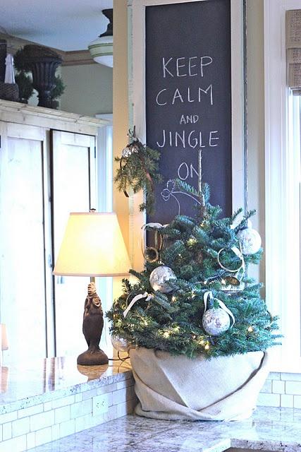 Mini christmas tree and fun message.
