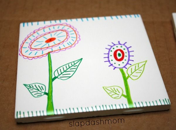 DIY Tile Coasters- no kiln needed: pre-glazed white tile (cheap through home depot or maybe even donated) plus SHARPIES!! This is do-able for tile school murals, on any budget, for any age level!