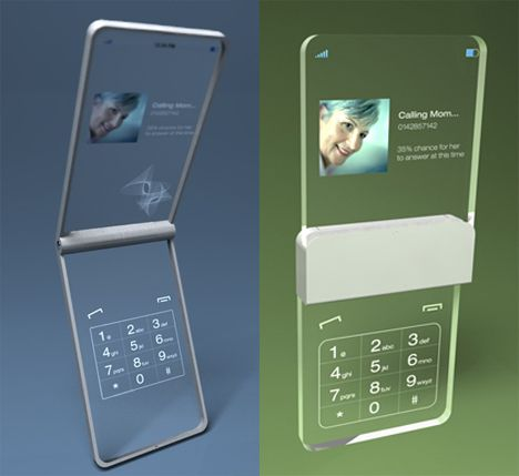 Can you imagine this? The glassy phone concept was dreamed up by Tokyo designer Mac Funamizu.