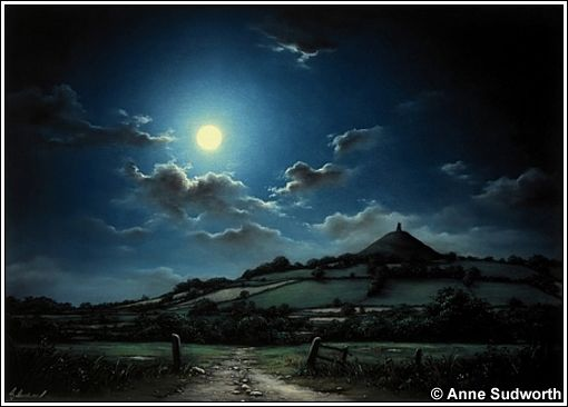 Glastonbury Tor by Anne Sudworth. One of my personal favourites, the graduated lighting effect all hand painted.