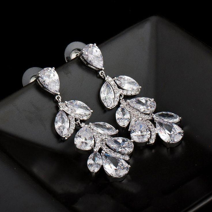 Platinum Plated Long Leaf Shape Luxury CZ Drop Earrings