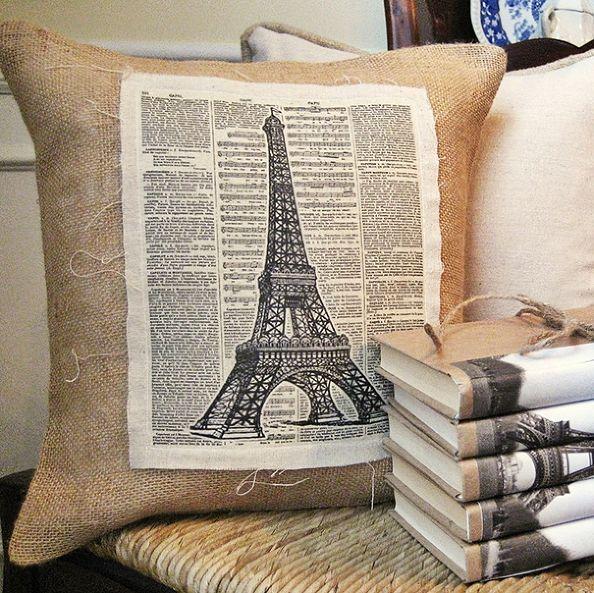 Burlap Eiffel Tower Pillow