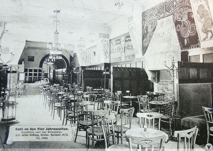 Dawna kawiarnia Vier Jahreszeiten, widok w kierunku sali bilardowej.