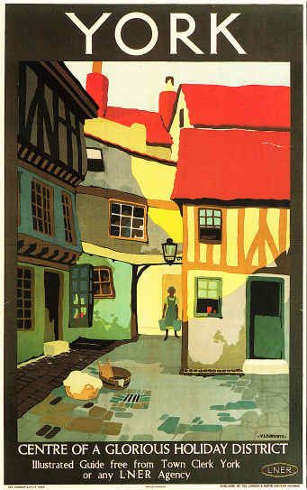 York by LNER Classic 1924 Railway Poster, England, London and North Eastern Railways