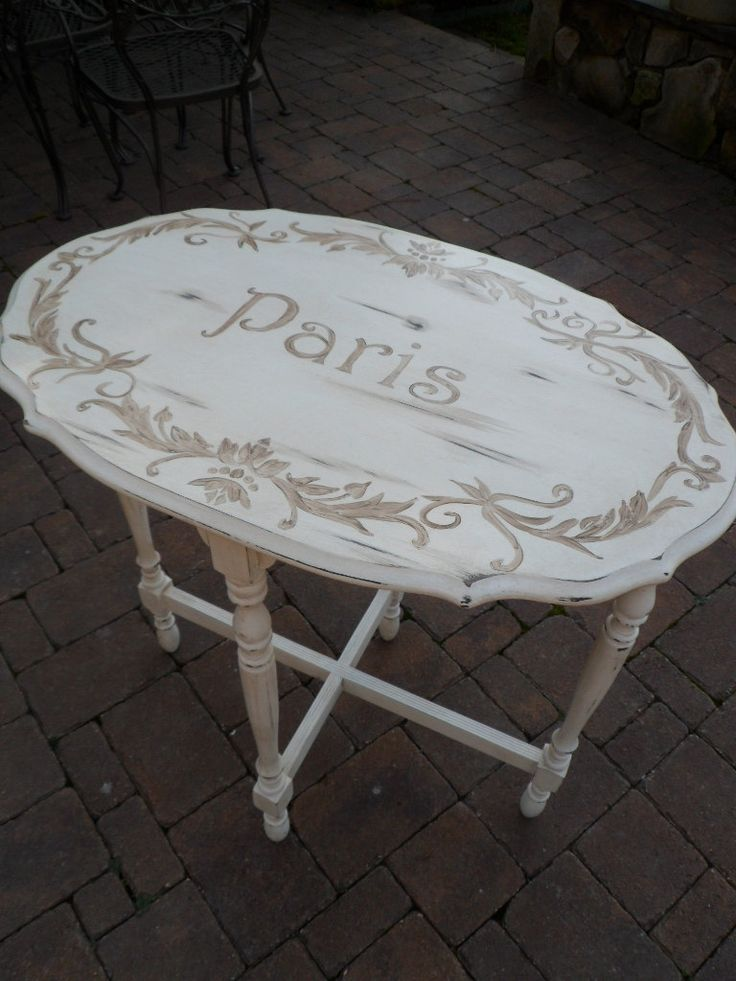 French Side Table Vintage Paris Ivory Distressed Shabby Chic Cottage Chic Paris Apartment OOAK.