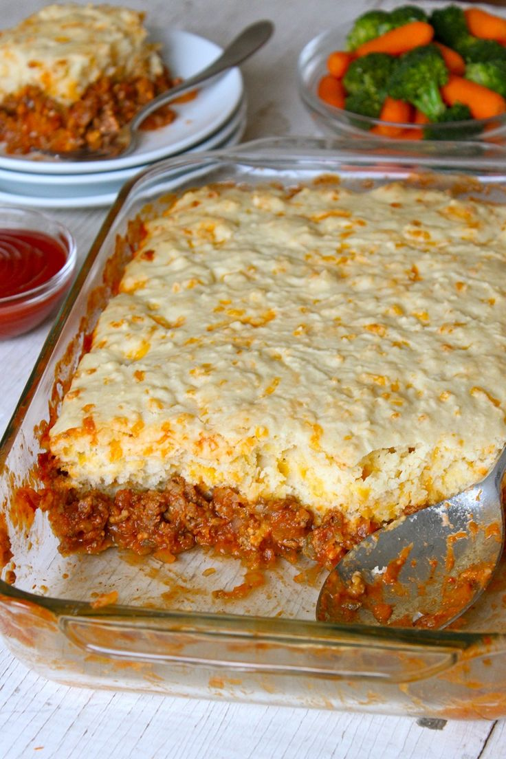 Sloppy Joe Casserole...Made a version of this tonight. Instead of the topping they used, I mixed up a couple of boxes of Jiffy and threw in some cheddar I grated.  I didn't have tomato sauce, but I had a can of diced tomatoes with green pepper and celery. I added that (along with the red pepper I used in place of the diced green pepper in the recipe). I adjusted ketchup to taste. The family approved.