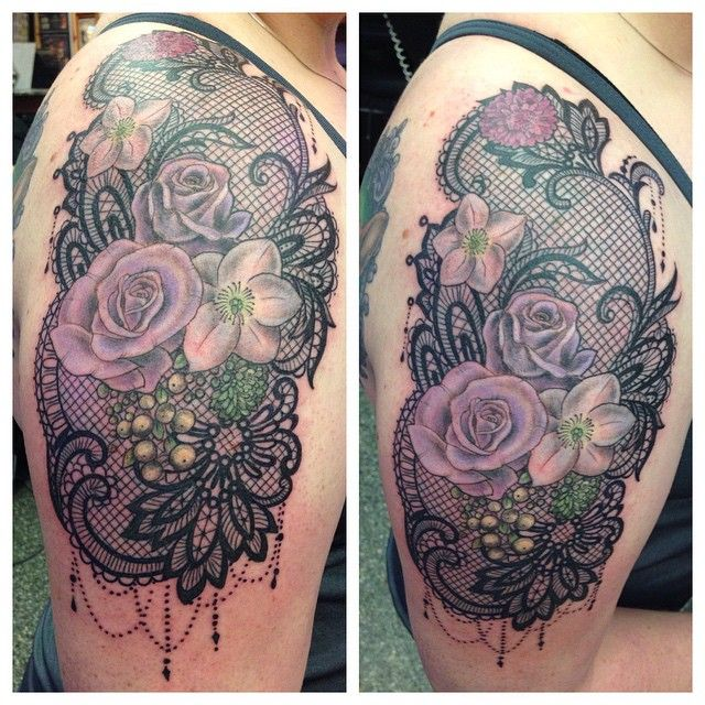flower and lace tattoo - Google Search