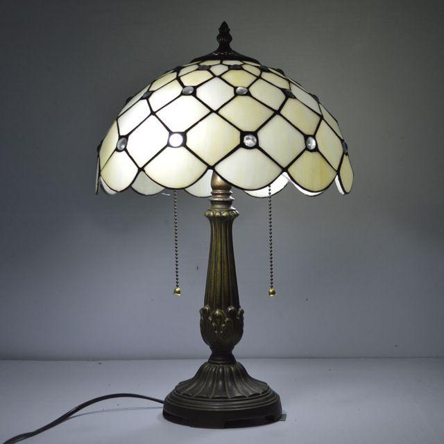 12 Polegada Claras Contas De Vidro Do Mar Mediterrâneo Vitrais Tiffany Lâmpada de Mesa Lâmpada de Cabeceira E27 110-240 V
