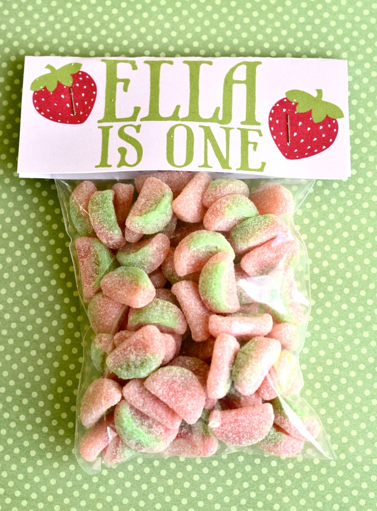 Strawberry Party PRINTABLE DIY Birthday Favor Tags from Love The Day. $5.00, via Etsy.