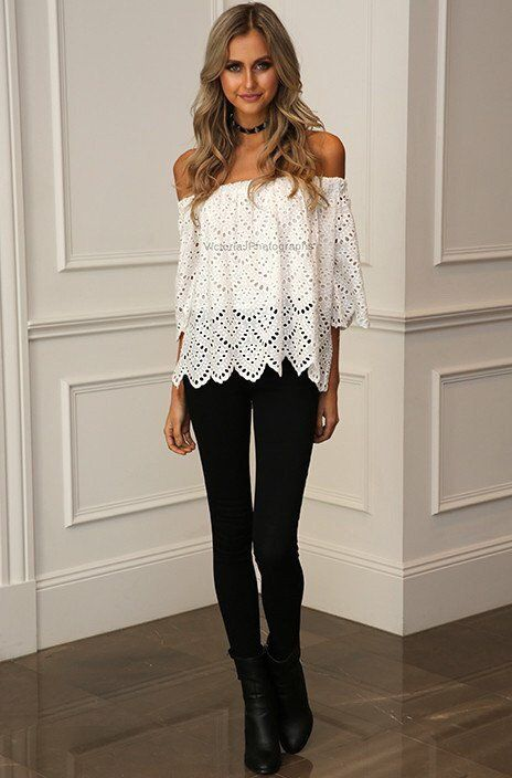 Lace Off the Shoulder Scalloped Top - White