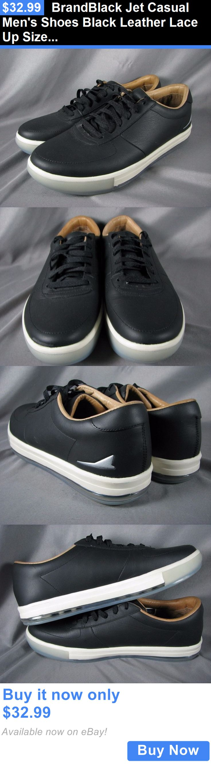 Men Shoes: Brandblack Jet Casual Mens Shoes Black Leather Lace Up Size 10 Us New BUY IT NOW ONLY: $32.99