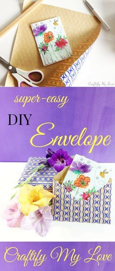 Learn how to make an envelope all by yourself using gift wrapping paper. Click for easy tutorial. | #papercrafts #cardmaking #envelope  #giftwrapping